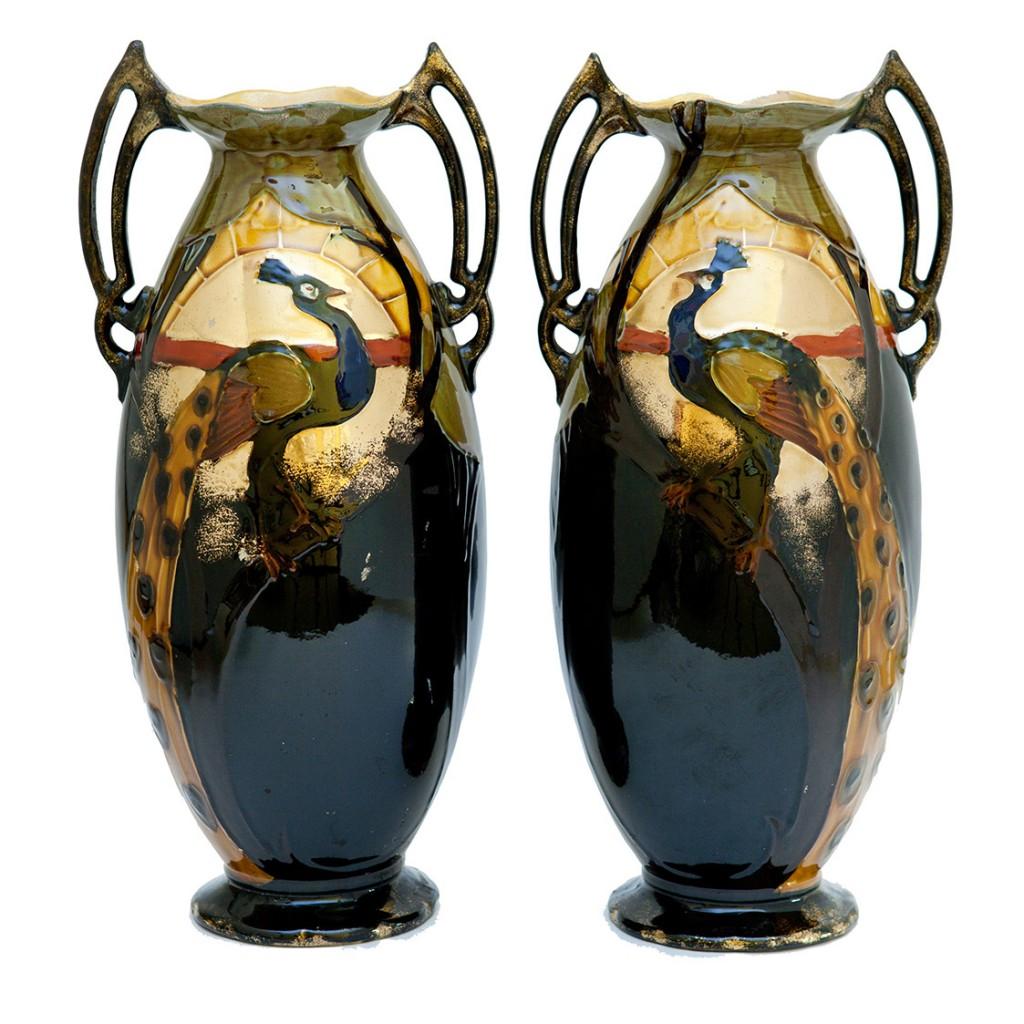 par de vasos de faiança estilo art nouveau – década de 1930