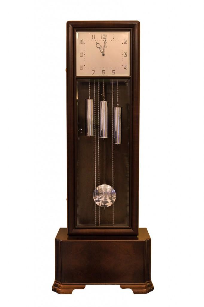relógio de pêndulo e som musical Vedette estilo art déco – França, década de 1930