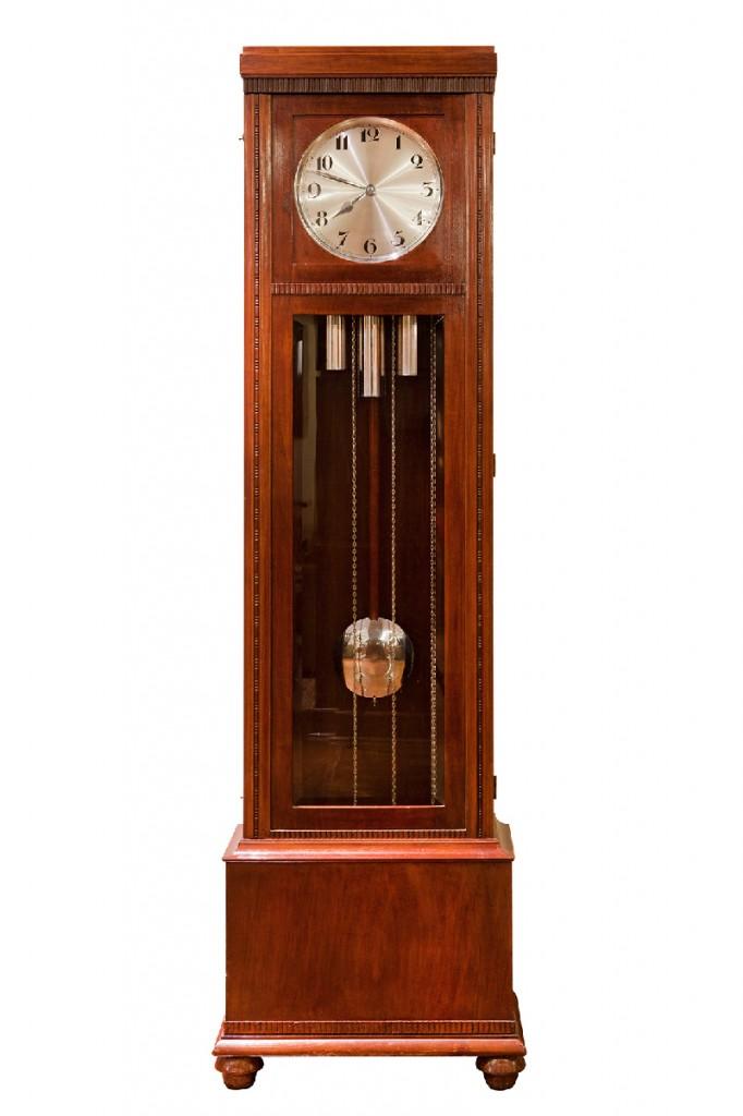 relógio de pêndulo com som musical estilo art déco – década de 1930
