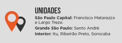 UnidadesSão Paulo Capital: Francisco Matarazzo e Largo Treze.Grande São Paulo: Santo AndréInterior: Itu, Ribeirão Preto, Sorocaba